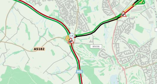 Delays on M6 in Staffordshire southbound between J15 and J13 [13-09-2019]